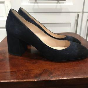 LK Bennett Navy Heels with black toe